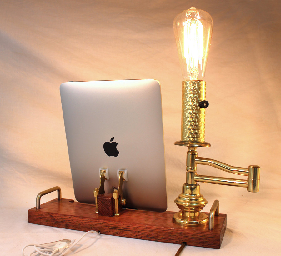 iPad - iPhone - iPod - Old Time Light Dock - Sync and Charging Station- Oak - Edison Bulb swing arm light