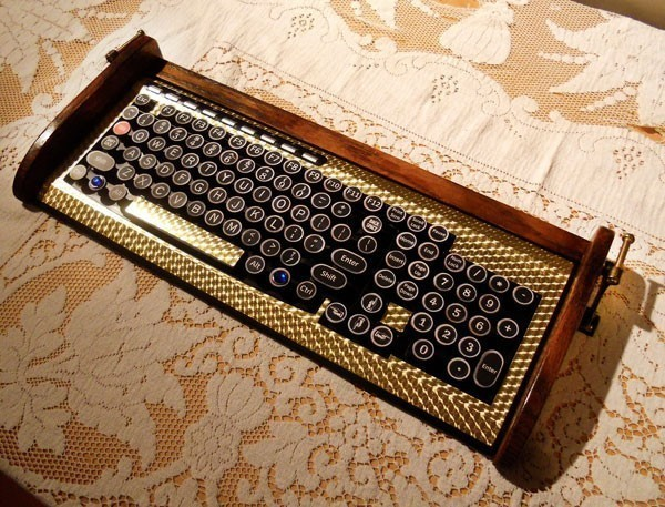 Keyboard Mouse Combo - Antique Looking Victorian Styling -  Steampunk-Typewriter-Gold